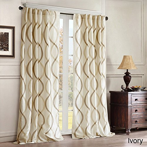 1pc Ivory Embroidered Oggi Faux Silk Taffeta Window Curtain 95 Single Panel, Silk Polyester, Off White Fabrics Color Window Treatment Blackout Lined Contemporary Classic Rod (Taffeta Embroidered Rod Pocket Curtain)