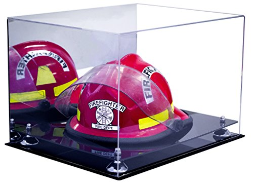 Deluxe Acrylic Fireman's Helmet Large Display Case with UV Protection with Mirror (A014-SR) (Firefighter Display compare prices)
