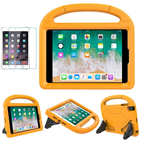 iPad Mini 1/2/3/4/5 Case for Kids, SUPLIK Durable Shockproof Protective Handle Bumper Stand Cover with Screen Protector for Apple 7.9 inch iPad Mini 5th (2019),4th,3rd,2nd,1st Generation, Orange