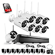 Annke 8CH Wireless Security Camera System 720p NVR Kits with 2TB HDD and (8) 1.0 MP Wifi Surveillance Network/IP Cameras IR Night Vision, Motion Detetion and Playback
