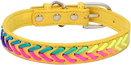 Axchongery Pet Collar,Exquisite Adjustable Dog Necklace Puppy Colorful Rope Chain Blue, M = 422.0CM