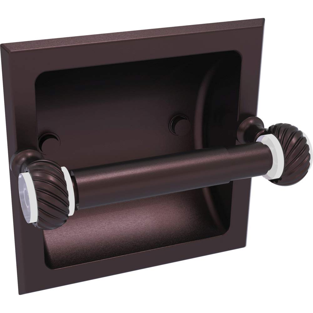 Allied Brass PG-24CT-ABZ Pacific Grove Collection Recessed Toilet Paper Holder with Twisted Accents Antique Bronze
