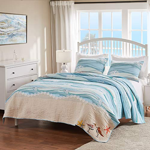 Greenland Home Maui Quilt Set, Full/Queen, Blue (Ocean Comforter Set)
