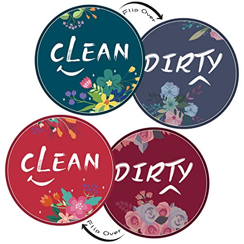 Dishwasher Magnet Clean Dirty Sign, 2 Pcs 3.5inches Round Double Sided Reversible Indicator, Dishwasher Accessories, Kitchen Appliance Label for Home Organization(Blue & Red)