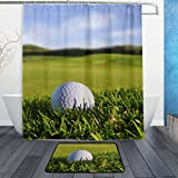 ALAZA Set of 2 Golf Landscape 60 X 72 Inches Shower Curtain and Mat Set, Golf Ball Waterproof Fabric Bathroom Curtain and Rug Set with Hooks