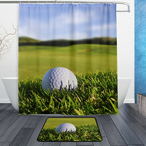 ALAZA Set of 2 Golf Landscape 60 X 72 Inches Shower Curtain and Mat Set, Golf Ball Waterproof Fabric Bathroom Curtain and Rug Set with Hooks by ALAZA