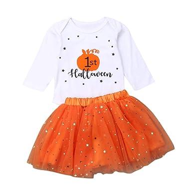 Cyeer ❤ Conjunto de Disfraz de Calabaza de Halloween para niña y ...