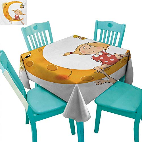 WilliamsDecor Teen Girls Washable Table Cloth Little Girl Sitting Barefoot Moon with Eye and Lamp Childhood Mystery Theme Cartoon Great for Buffet Table 60