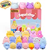 LEEHUR Squishies for Girls Easter Party Favors Squishys Kids Mochi Squishy 20Pcs Kawaii Soft Mini Moji Moji Animals Toys for 6 Year Old Boys Squeeze Stress Anxiety Relief Toys Goodie Bag Class Prize
