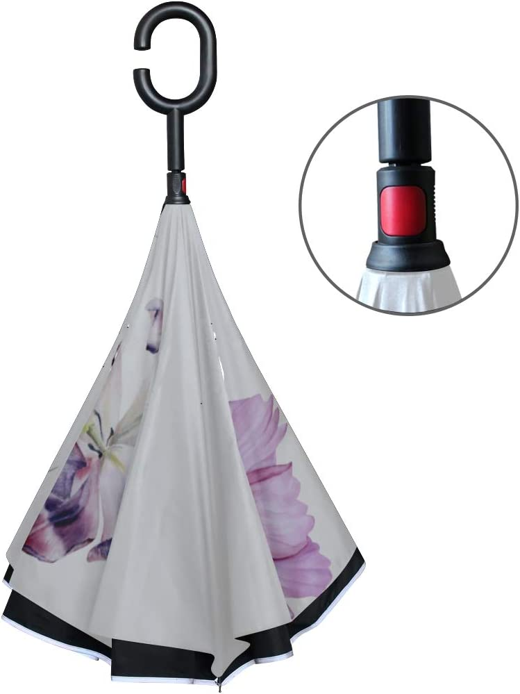 Double Layer Inverted Inverted Umbrella Is Light And Sturdy Set Chafer Pink Violet Garden Reverse Umbrella And Windproof Umbrella Edge Night Reflecti