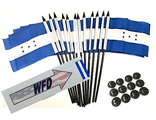 Box of 12 Honduras 4''x6'' Polyester Miniature Desk & Little Table Flags, 4x6 Honduran Small Mini Hand Waving Stick Flags with 12 Flag Bases (Stands) by World Flags Direct (Image #2)