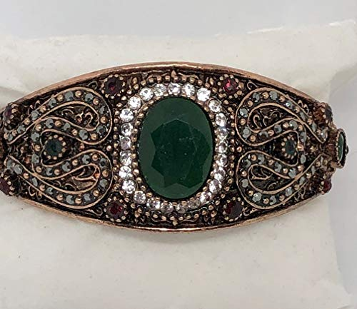 (Turkish, Bohemian Created Oval Shape Emerald with Ruby & Emerald & Rhinestone Accents, Copper, Bangle Hinged Bracelet, Boho Jewelry, Women's Costume Jewelry, Festival Jewelry Gift, 8 1/2 Inch,)