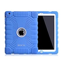 Honeycase Extreme-Duty Military Transformer Hybrid Shockproof & Drop Rresistance Anti-slip Soft Silicone Case Cover for iPad 2 / for iPad 3 / for iPad 4 (Blue)