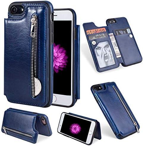 iPhone SE 2020 / iPhone 8 / iPhone 7 バックケース, Zeebox® 新品 高級PUレザー 薄型 財布型 バック電話ケース Apple iPhone SE 2020 / iPhone 8 / iPhone 7 対応, カードポケット収納, 液晶保護 衝撃吸収バックケース, 青い