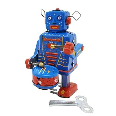 VOSAREA Clockwork Drumming Robot Wind up Cartoon Antique Tinplate Vintage Toy Adornment for Adults Kids Children: Home & Kitchen