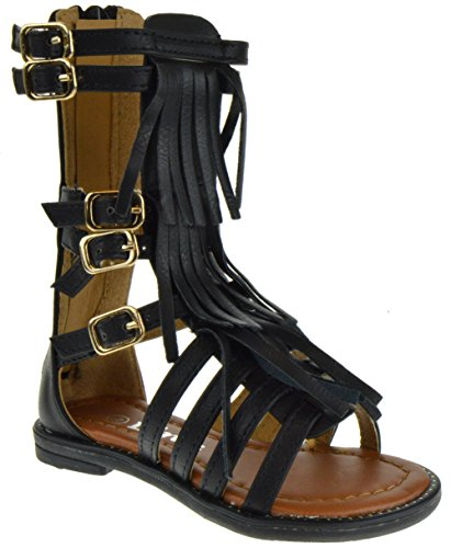 Black Savannah Strappy Buckled Fringe Gladiator Flat Sandals