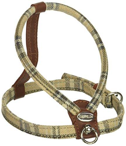 Petego La Cinopelca Cheri' Italian Leather Harness in Brown and Tartan Fabric, Small