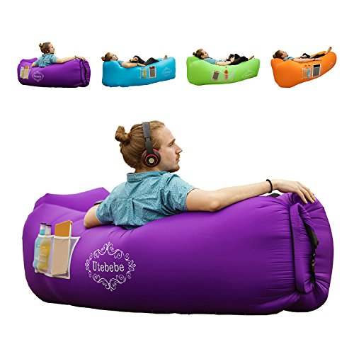 Utebebe Inflatable Lounger Air Sofa Blow Up Couch Chair Outdoor Lazy Sofa Air Lounger Inflatable Lazy Bag Air Hammock Portable-Couch for Beach Traveling Camping Park Picnics & Music Festivals ()
