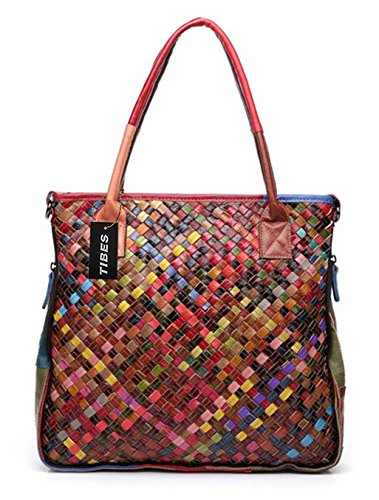 Tibes Leather Woven Handbag Womens Cross Body Bag Purse Multicolor