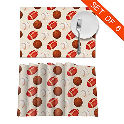 Baseball Rugby Placemats, Table Mats 12