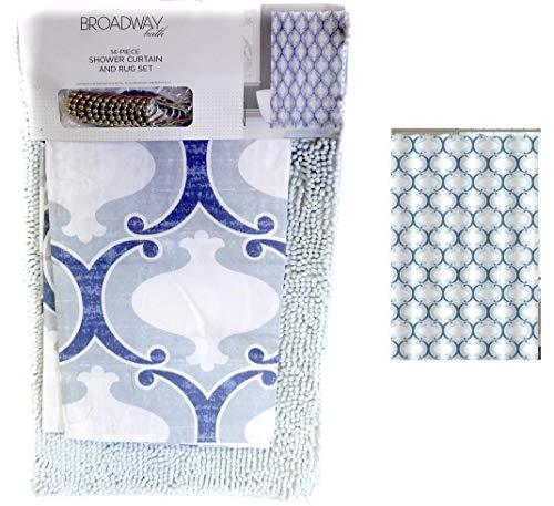 - DINY Home & Style 14 Piece Shower Curtain & Anti-Slip Noodle Rug Bath Mat Set 12 Metal Roller Hooks