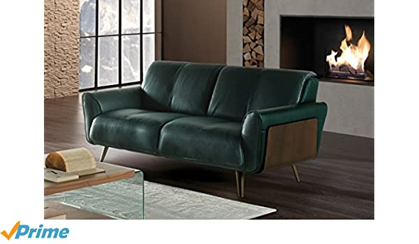 Amazon.com: Natuzzi Editions Tobia Green Leather Loveseat ...