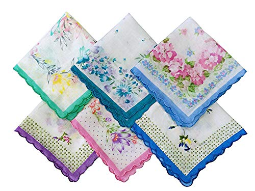 Forlisea Womens Beautiful Cotton Floral Handkerchief Wendding Party Fabric Hanky 6 pcs