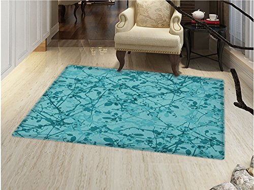 smallbeefly Teal Door Mats for home Ink Drawing Inspired Intertwined Tree Branches Buds and Leaves in Abstract Design Bath Mat Bathroom Mat with Non Slip Teal Turquoise