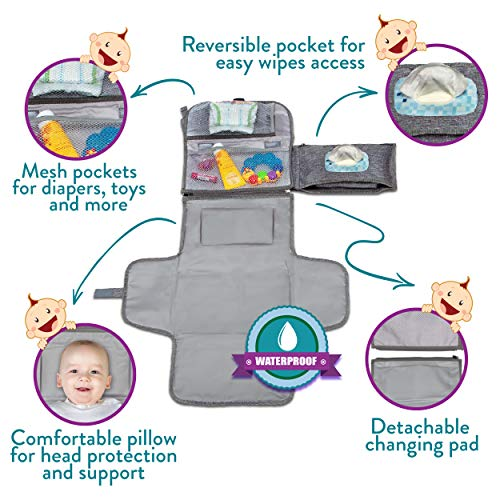 Portable Diaper Changing Pad, Portable Changing pad for Newborn boy & Girl- Baby Changing Pad with Smart Wipes Pocket…