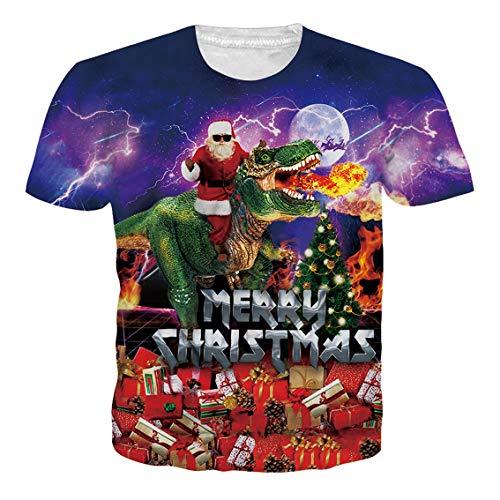 RAISEVERN Unisex Funny Santa Claus Dragon Spitfire Print Terror Hipster Novelty Cool T Shirt Tees for Women Men ()