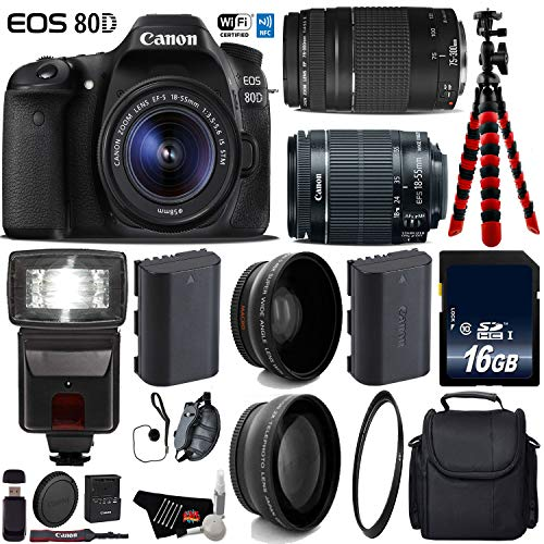Canon EOS 80D DSLR Camera with 18-55mm is STM Lens & 75-300mm III Lens + Flash + UV FLD CPL Filter Kit + Wide Angle & Telephoto Lens + Camera Case + Tripod + Card Reader - International Version -  6Ave