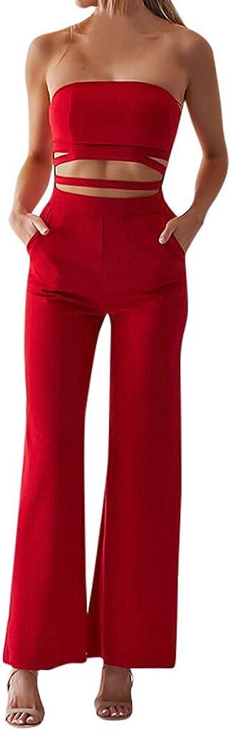 Beautyjourney Jumpsuit Femme Soiree Grande Taille Combinaison Femme De Soiree Combinaison Femme Chic Mariage Combinaison D/écontract/ée Solide Unie sans Manches Creuse sans Manches pour Femmes D/Ét/é