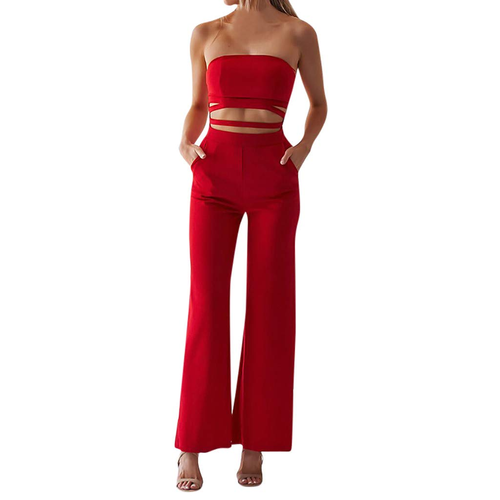 Cardigo Women Summer Jumpsuit Wrapped Chest Sleeveless Hollow Solid Casual Playsuit Red