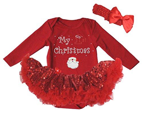 My 1st Christmas Baby Dress Santa Claus Red L/s Bodysuit Sequin Tutu Nb-18m (Infant Santa Dress)