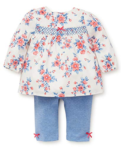 Little Me Baby Girls Tunic Set, Wild Roses Sugar Coral/Marshmallow/Sky Blue Heather 9 ()