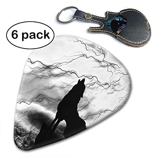 Ivanfield Black Wolf Silhouette Howling Thunderstorm Full Moon 351 Shape Classic Celluloid Picks 6-Pack ()