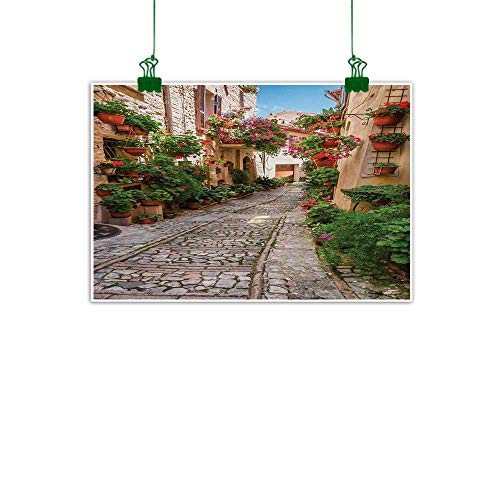 Anzhutwelve Tuscan,Oil Painting Historical Mediterranean Street Flowers Italian Town in Sunny Day Umbria Canvas Art for Wall Ivory Green and Red W 24