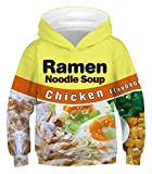 PIZOFF Ramen Hoodie for Kids 3D Print Graphic Pullover Hoodie Pocket for 3-14T