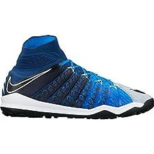 Nike Men's HyperVenomX Proximo II DF TF Turf Soccer Shoes (Brave Blue)