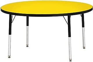 "product image for Jonti-Craft Berries 6488JCE210 Round Activity Table, E-Height (15""-24"" Adjustable Height), 36"" Diameter, Oak/Black/Black"