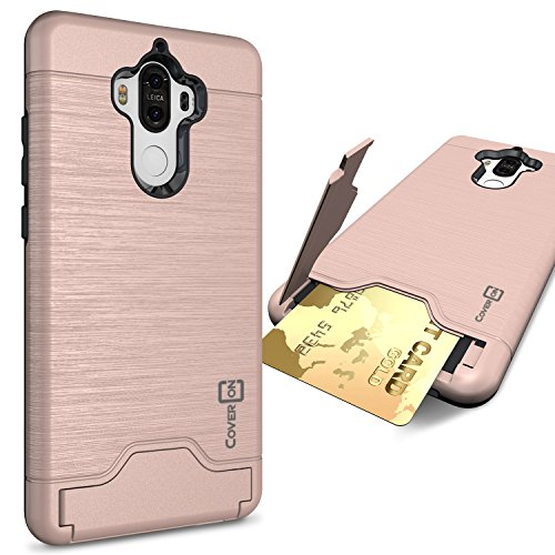 Huawei Mate 9 Case, CoverON [SecureCard Series] Slim Fit Protective Hard Hybrid Cover with Credit Card Slot and Kickstand Phone Case for Huawei Mate 9 - Rose Gold