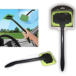 2 Pack Auto Glass Cleaner! Windshield Clean Car Glass Cleaner Wiper Handle Wand Microfiber Cloth! Best Outside and Interior Car Window Cleaner! 100% Money Back Guarantee!