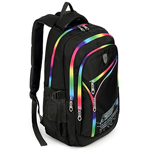 UTO Backpack Nylon Child Teenager Rucksack Primary Junior School Bookbag Black