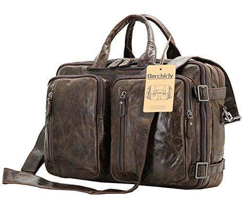 Berchirly Vintage Multifunction Genuine Leather Briefcase Expandable Laptop Backpack Messenger Bag Rucksack BookBag Daypack Case by Berchirly