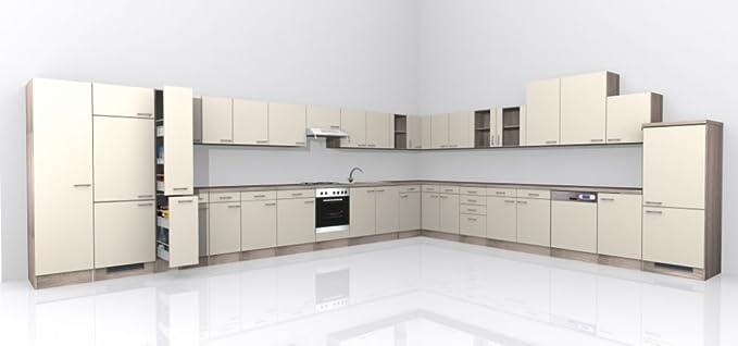 Küchenzeile 310 cm ohne geräte magnolie mit schubkastenschrank magnolia amazon de küche haushalt