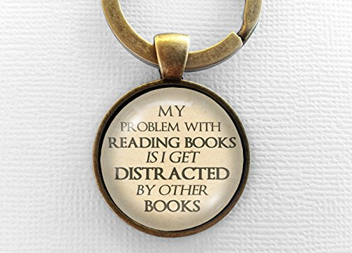 Funny Books Keychain, Glass Book Pendant Keyring, Bookish Gift, Text Jewelry, Book Lover, Nerd, Fandom, Geek Jewellery Key Chain Key Ring