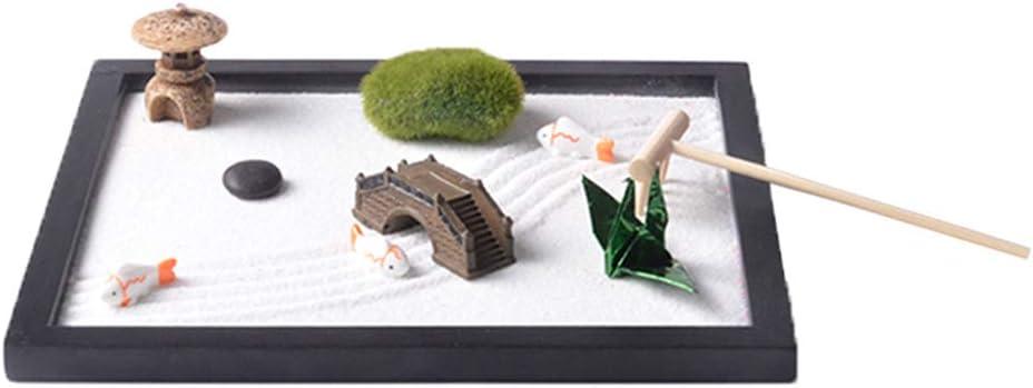 PETSOLA Plateau de Sable de Jardin de M/éditation Zen Paysage de D/écoration avec Sable et R/âteau