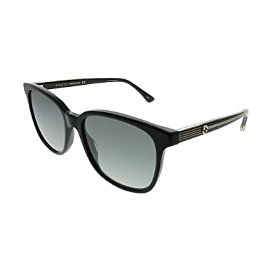 3927b2c9a2b4f Gucci GG 0376S 001 Black Plastic Square Sunglasses Grey Gradient Lens   Amazon.co.uk  Clothing
