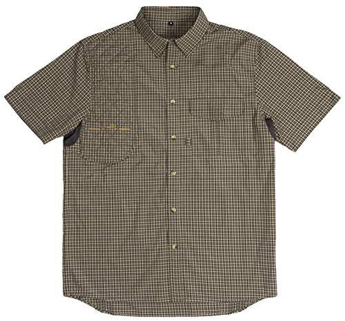 Wild Hare Shooting Gear WH-601SS-PD1-RH-M Button Up Short Sleeve Shooting Shirt, Brown Plaid, Medium