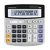 Standard Functional Desktop Calculator Sola and AA Battery Dual Power Electronic Calculator with 12-digit Large Display